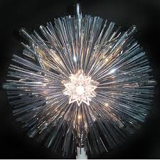 Hofert 8 Lighted Retro Silver Tinsel Star Christmas Tree Topper