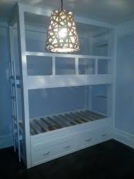 hand made twin over twin built in bunk bed with pop up trundle by