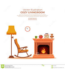 100 Rocking Chair With Books Cozy Fireplace Room Interior Stock Vector Illustration Of Indoors