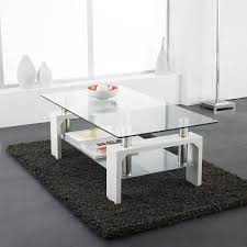 100 Living Room Table Modern White Rectangle Glass Chrome Coffee With