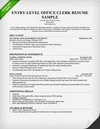 Entry Level Office Clerk Resume Sample