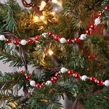 Red And White Iridescent Holiday Bead Garland