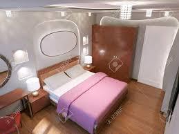 eclectic schlafzimmer trend der haupt kontrast zwischen weißen und braunen farbe braune böden und möbeln und weißen wänden 3d übertragen
