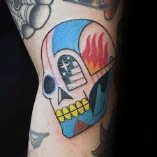 Colorful Skull With Staircase Mens Simple Arm Tattoo
