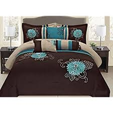 amazon com fancy collection 7 pc embroidery bedding brown