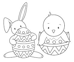 Coloring Pages Easter Eggs To Decorate Bunny Friends Page Preschool Religious Full Size