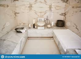 100 Marble Walls Classical Turkish Bath With And Surfaces Stock