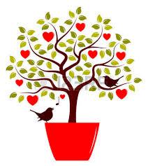 coeur de en pot arbre de coeur de vecteur dans pot et l amour des oiseaux isolé