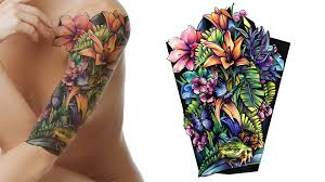 Butterflies Floral And Frog Sleeve Tattoo Design