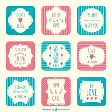 Valentines Day Scrapbook Stickers Vector