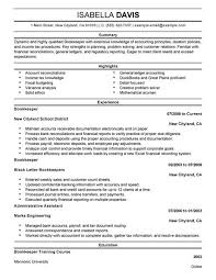 Best Bookkeeper Resume Example 2017 Free Download Template Sample