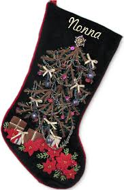 Hand Stitched Antique Christmas Tree Stockings