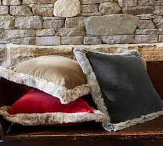 Pottery Barn Decorative Pillow Inserts by Fur Trimmed Velvet Pillow Cover Pottery Barn