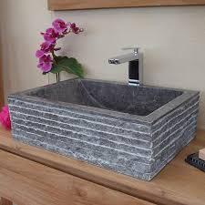 vasques à poser en marbre terrazzo ou en teck krea fr
