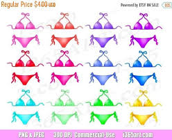 50 OFF Bikini Clipart Bikinis Clip Art Colorful Summer Wear Swimming Planner Printables Scrapbooking PNG Commercial