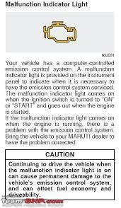 honda malfunction indicator lamp
