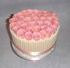 Pink Roses and White Chocolate cake
