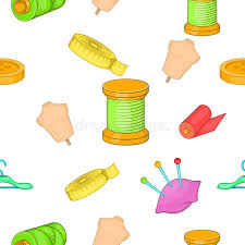 Sewing Supplies Pattern Cartoon Style Stock Vector Image