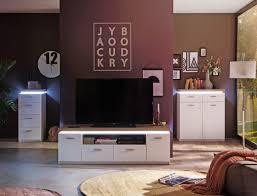 wohnzimmer 54 weiss wotan eiche nb 3 teilig tv wand led