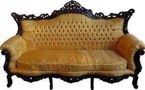 casa padrino barock 3er sofa gold muster mahagoni braun