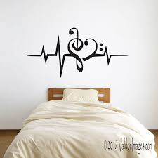 Heartbeat Music Lover Wall Decal Heart Stickers Decor Pulse Gifts Art Bedroom