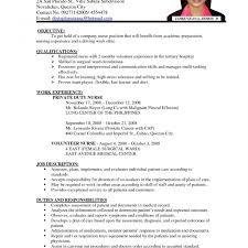 Nursing Resume Format Curriculum Vitae Template Word Pdf Sample For