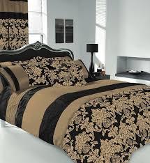 Amazon Super King Headboard by Apachi King Size Duvet Cover Bedding Set Black Gold Amazon Co