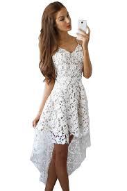 white hollow lace illusion hi low party dress