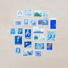 23 Blue Postage Stamps Canadian Vintage Color Lot Flowers Etsy