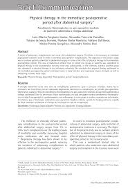 PDF Physical Therapy In The Immediate Postoperative Period After
