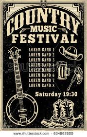 Country Music Festival Poster Template Cowboy Hat Boots Banjo Vector Illustration