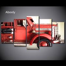 100 Fire Truck Wall Art 5Piece Canvas Painting HD Printed Red