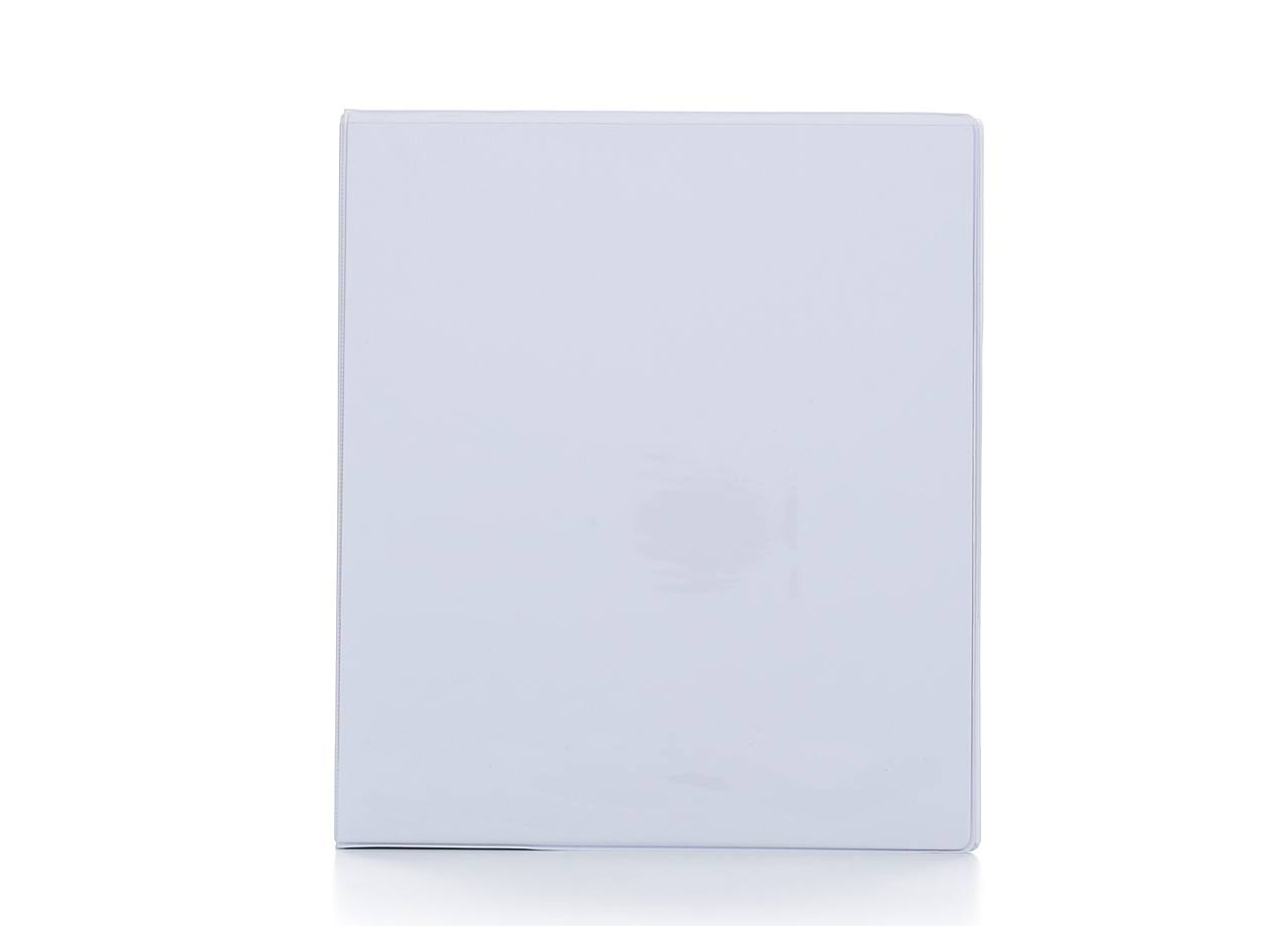 Bazic 3-Ring View Binder with 2-Pockets - White, 1""