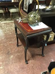 Antique Chippendale Style Mahogany Side Table with Leather Top
