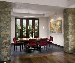 Trendy Dining Room With White Walls And Dark Hardwood Floors Kitchen Wooden Table Red Chairs Exposed