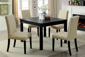 Nailhead Dining Room Chairs Elegant Kristie Antique Black Finish 5pc Rustic Set W Ivory