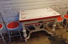 1930s Porcelain Enamel Top Kitchen Dining Table With Chairs Art Deco Set Red