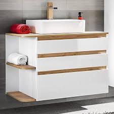 badezimmer waschtisch mit keramik waschbecken cos 56 hochglanz weiß mit wotaneiche b x h x t ca 94 x 63 5 x 50 cm