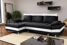 canapé noir et blanc canapé d angle convertible en tissu et pvc decio avec coffre de
