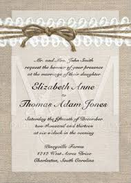 A Rustic Wedding Invitation With Burlap Look Border Accented Twine Lace Bow Across The Top Of Great For Vintage Or