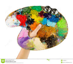 Artists Hands Holding A Paint Brush And Palette Royalty Free Stock Images