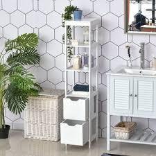 kleankin badezimmerregal badeschrank küchenschrank mit 1 schränke 3 offene regale mdf platte 30 x 30 x 144 cm weiß