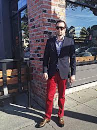 navy blazer gingham shirt red pants camo double monkstraps