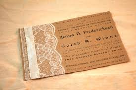 Make Your Own Rustic Wedding Invitations Template Mixed With White Lace And Satin Ribbon Decoration