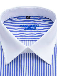 mens blue and white stripe cotton shirt with white collar and cuff