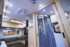 Motorhome Interior Small Bathroom With Shower And Sleeping Area Class B Photo By Welcomia
