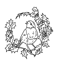 Robin Bird And Christmas Floral Arrangements Coloring Page
