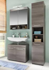 details zu badezimmer möbel set in grau mit hochschrank unterschrank spiegelschrank runner