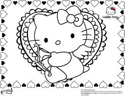 Hello Kitty With Valentine Heart Coloring Pages