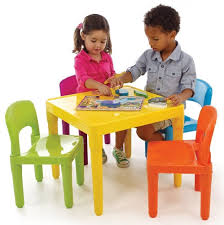 Table Chair Set 4 Kids Tot Tutors Plastic Primary Play Activity ...